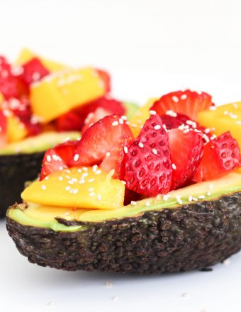 Avocado boats with mango, strawberry, and balsamic vinegar