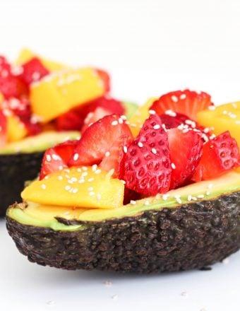 Avocado boats with mango, strawberry, and balsamic vinegar