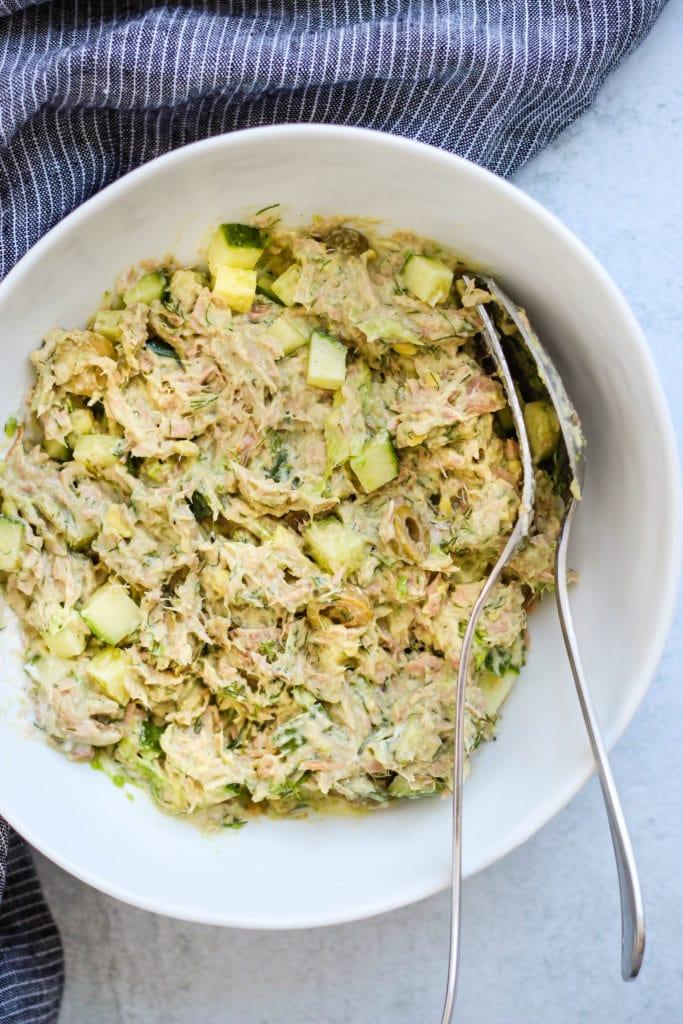 no mayo tuna salad in a white bowl