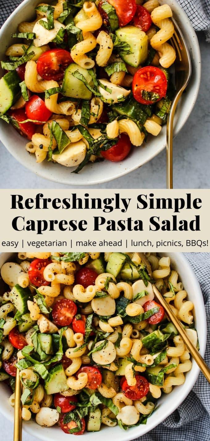 Pinterest graphic for simple caprese pasta salad recipe.