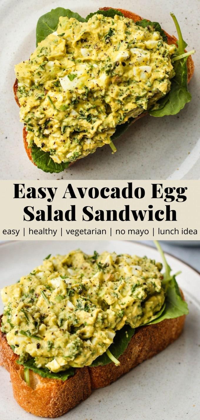 Pinterest graphic for easy avocado egg salad sandwich recipe.