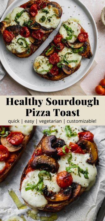 Pinterest graphic for a healthy sourdough pizza toast recipe.