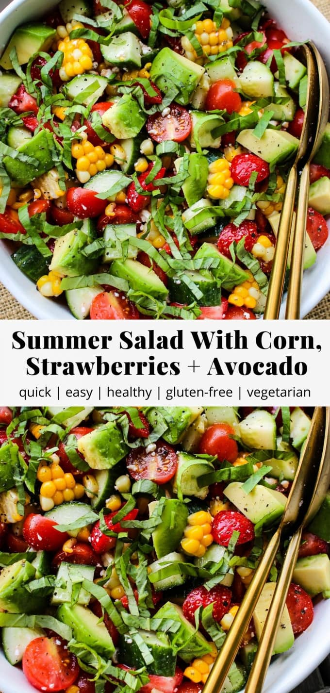 Pinterest graphic for summer salad recipe with corn, strawberries, and avocado.