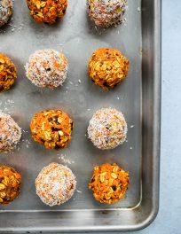 healthy no bake carrot cake energy bites on a baking dish