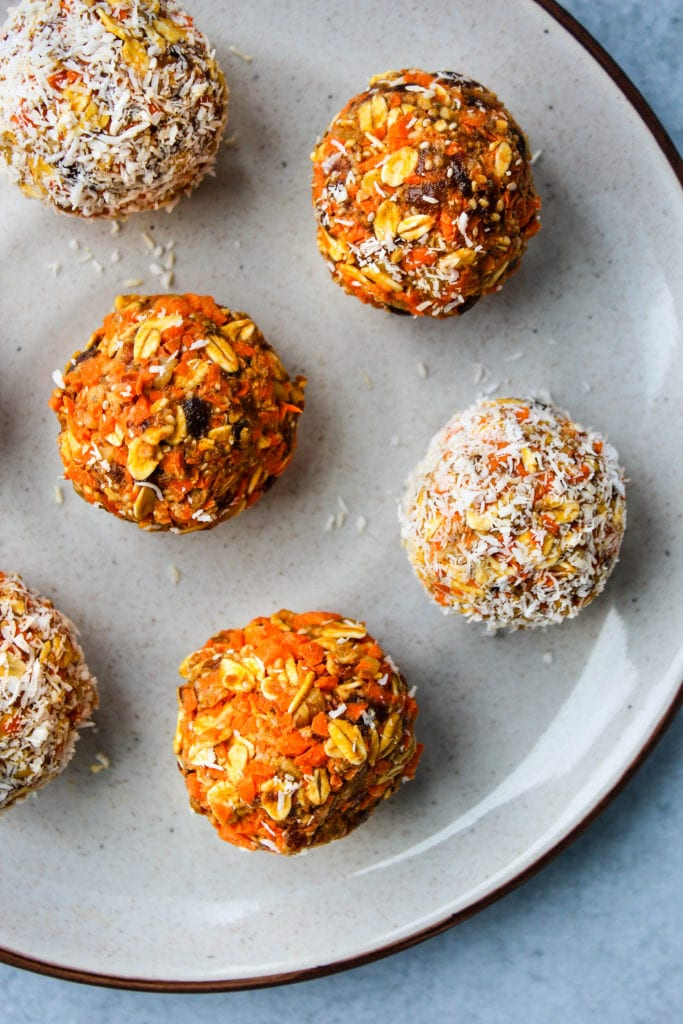 healthy no bake carrot cake energy bites on a plate