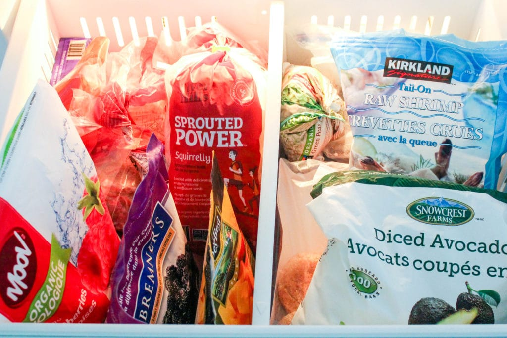 A dietitian's healthy pantry staples, inside the freezer