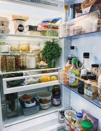 A dietitian's healthy pantry staples, inside fridge