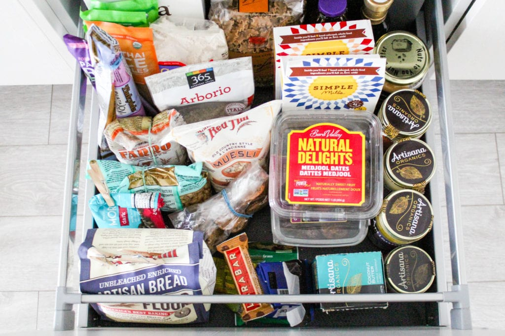 A dietitian's healthy pantry staples, packaged dried goods, nut butters