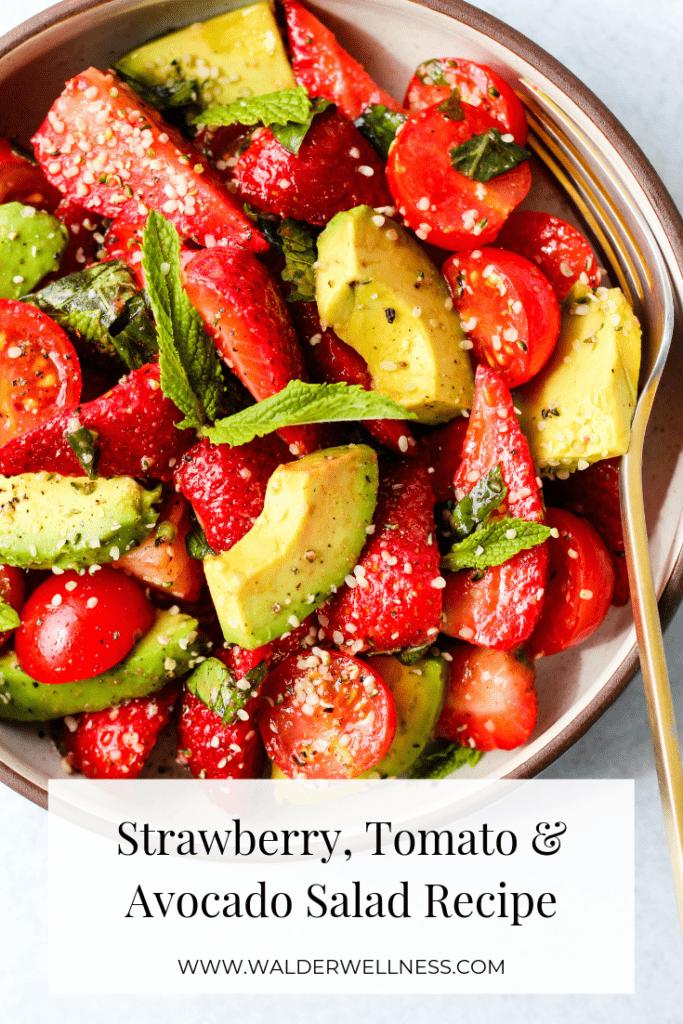 strawberry tomato and avocado salad pinterest graphic
