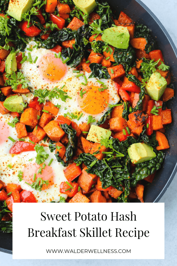 Sweet potato hash breakfast skilet with bell peppers, kale, avocado, and eggs pinterest graphic