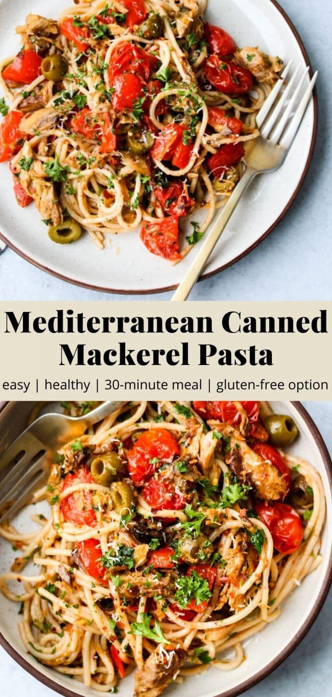 Pinterest graphic for mediterranean canned mackerel pasta recipe.