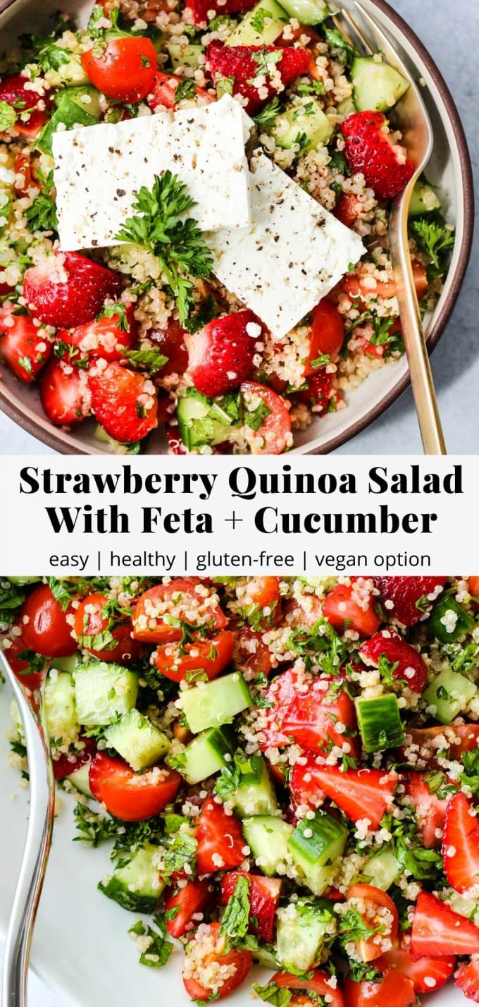 Pinterest graphic for strawberry quinoa salad with feta and cucumber recipe.
