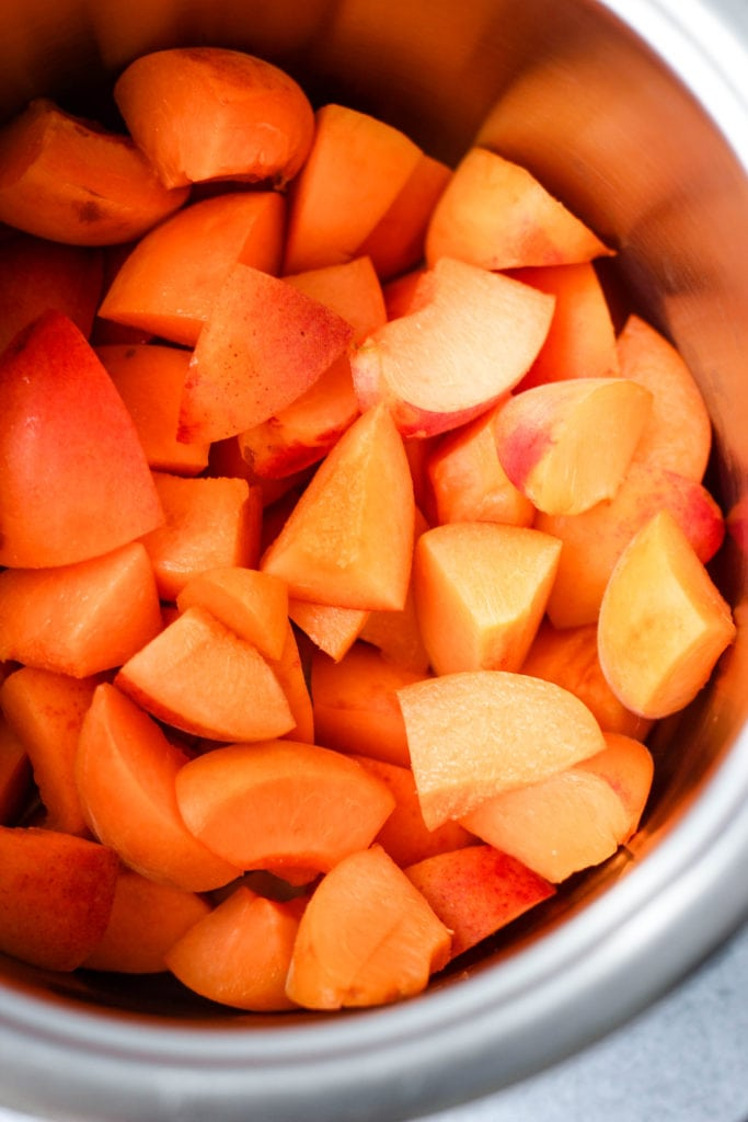 chopped apricot pieces in saucepan