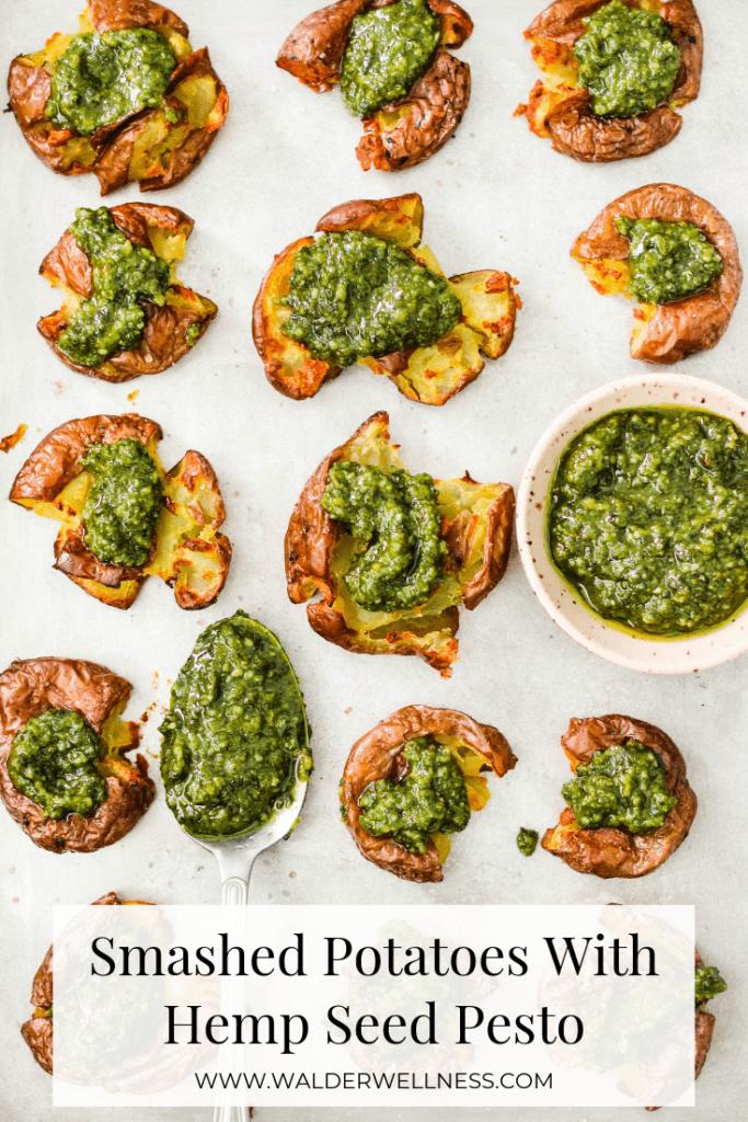 Pinterest graphic for a crispy smashed potato recipe with vegan pesto.
