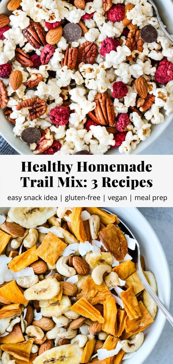 Pinterest graphic for healthy homemade trail mix recipes.