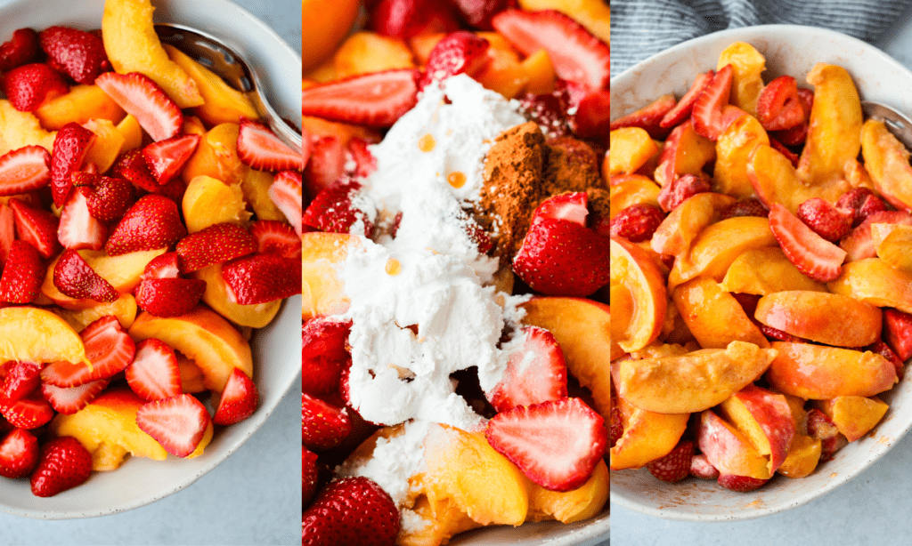 sliced strawberries and peaches