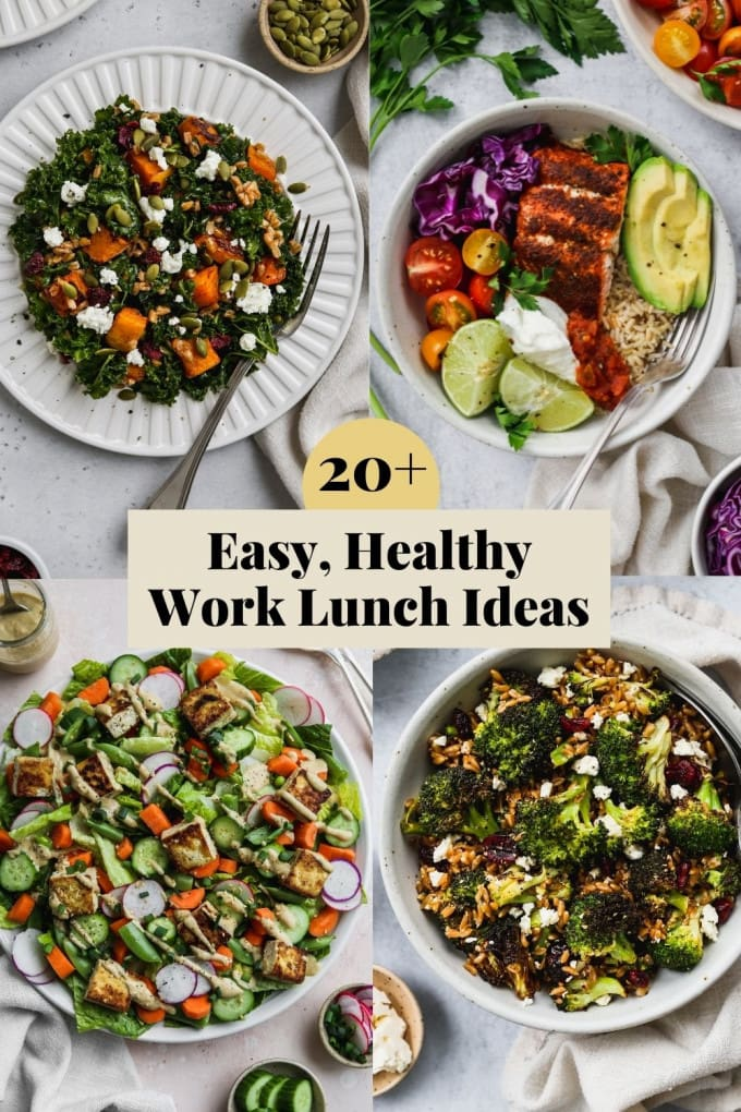 Pinterest graphic for easy, healthy work lunch recipe ideas.