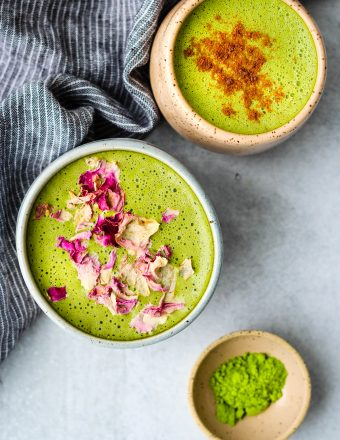 two matcha collagen lattes in mugs