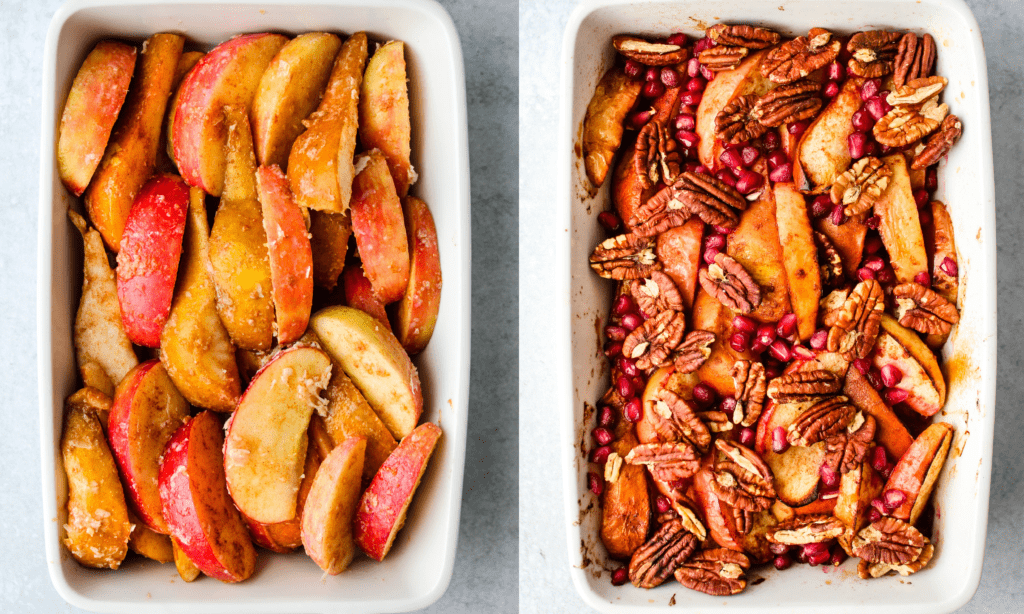 side by side of apple and pear fruit bake