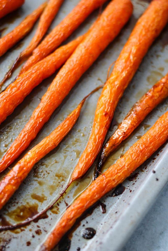 maple-roasted carrots on baking dish