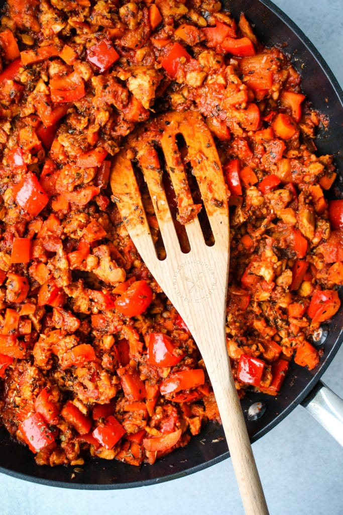 tempeh bolognese in a skillet