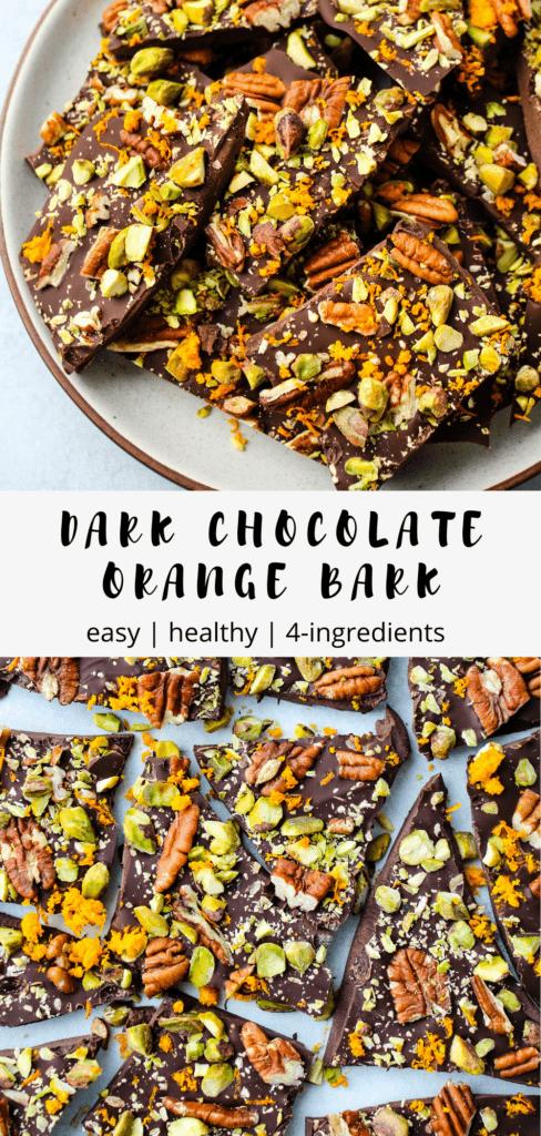 pinterest graphic for dark chocolate bark recipe