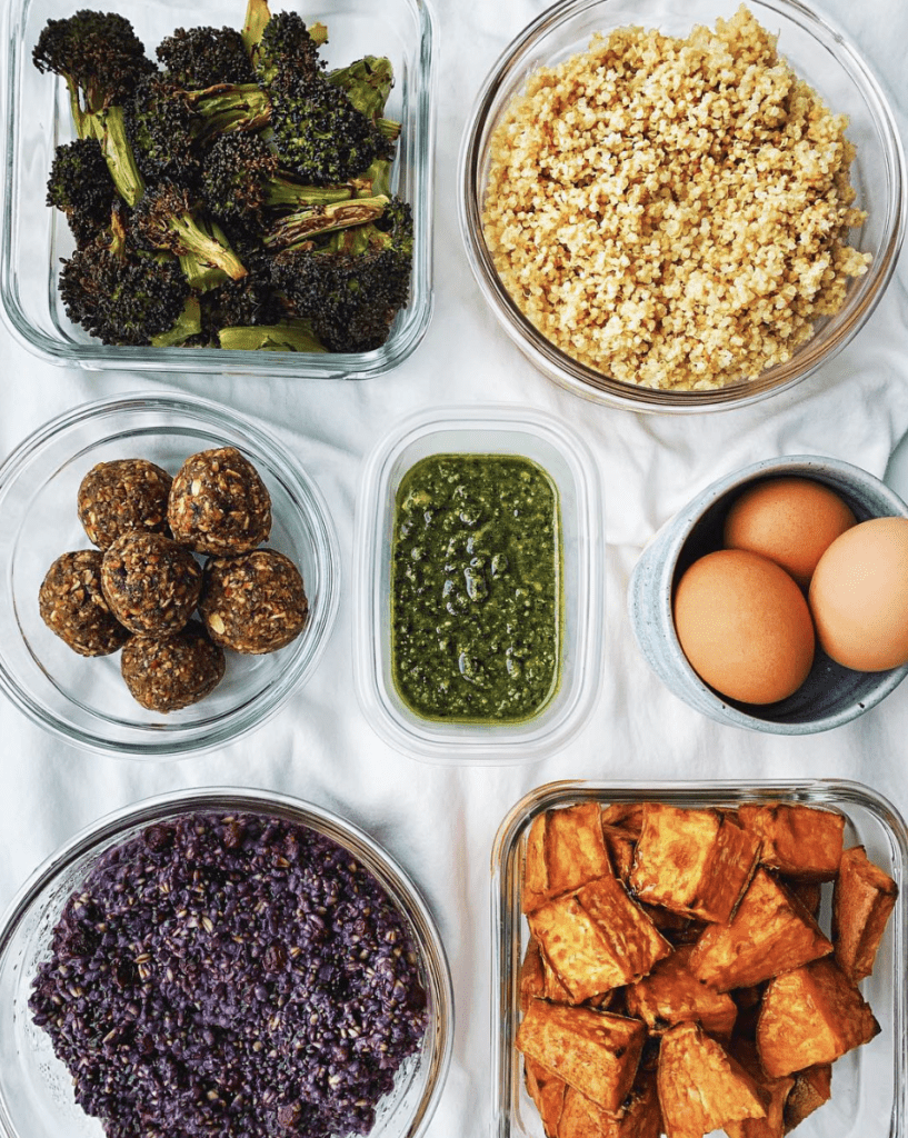 ingredients for meal prep in glass containers
