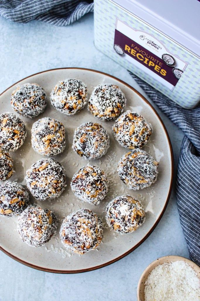 plate of no-bake prune power balls