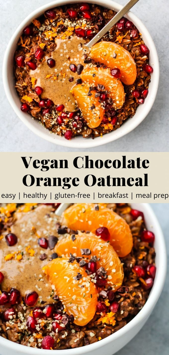 Pinterest graphic for vegan chocolate orange oatmeal recipe.