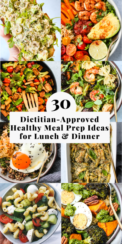 Pinterest graphic for a roundup of dietitian-approved healthy meal prep ideas for lunch and dinner.