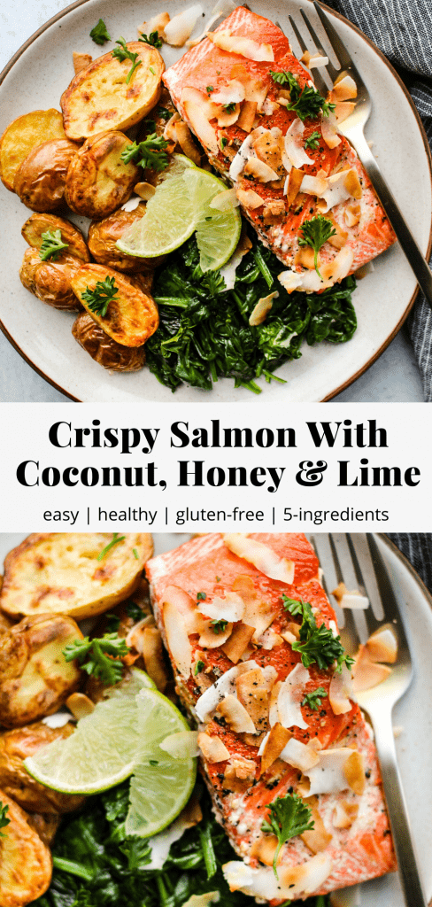Pinterest graphic for a crispy salmon recipe with coconut, honey, and lime.