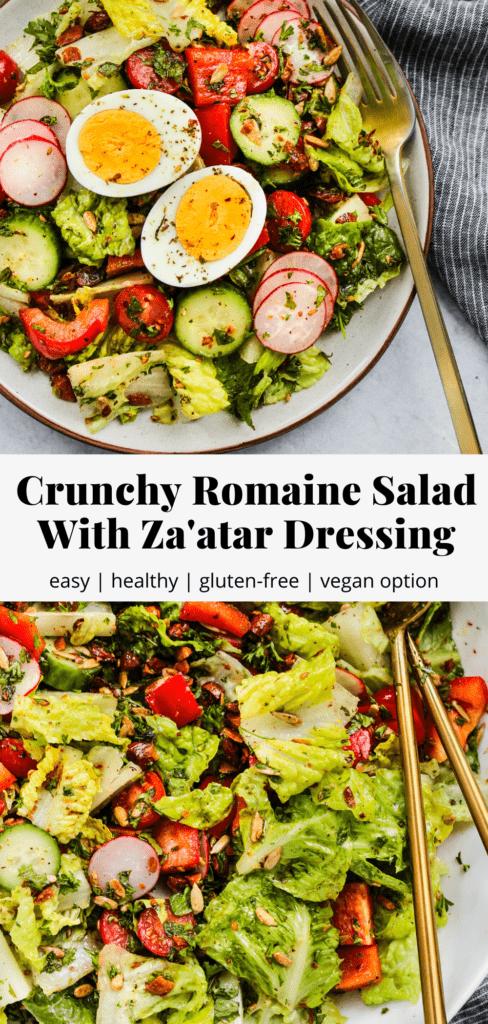 Pinterest graphic for a crunchy romaine lettuce salad recipe.