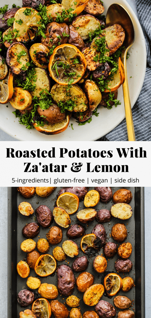 roasted potatoes with za'atar and lemon pinterest graphic