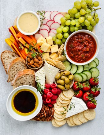 Overhead shot of low fodmap cheese board
