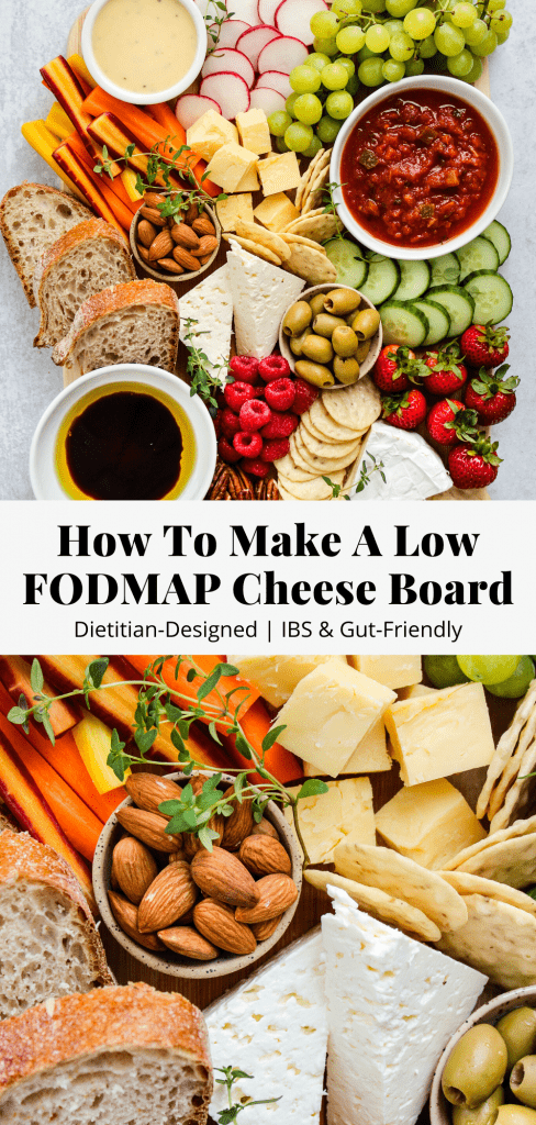 how to make a low fodmap cheese board pinterest graphic