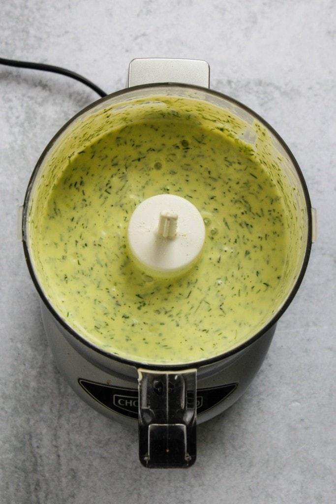 herbed yogurt salad dressing in food processor