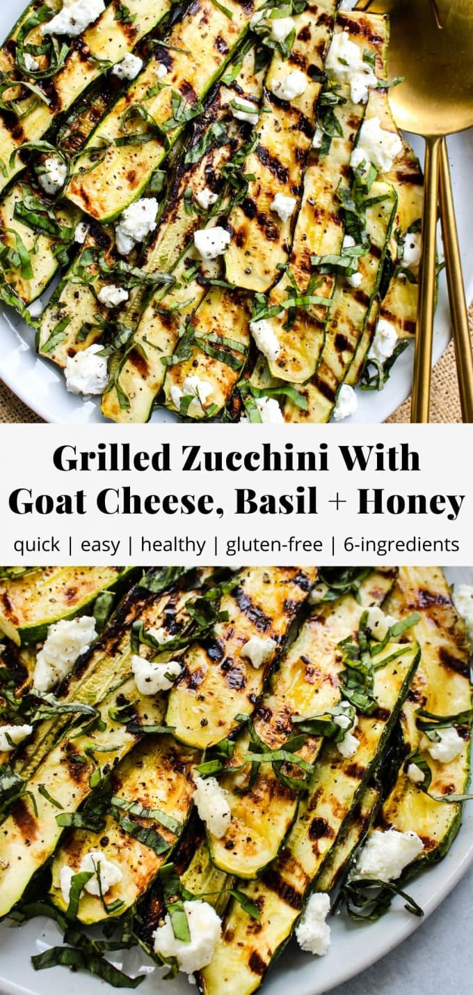Pinterest graphic for grilled zucchini with goat cheese, basil, and honey recipe.