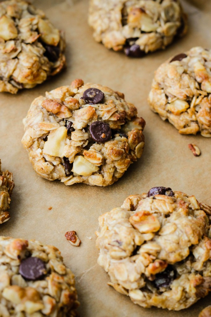 close up tahini oatmeal cookie on parchment paper