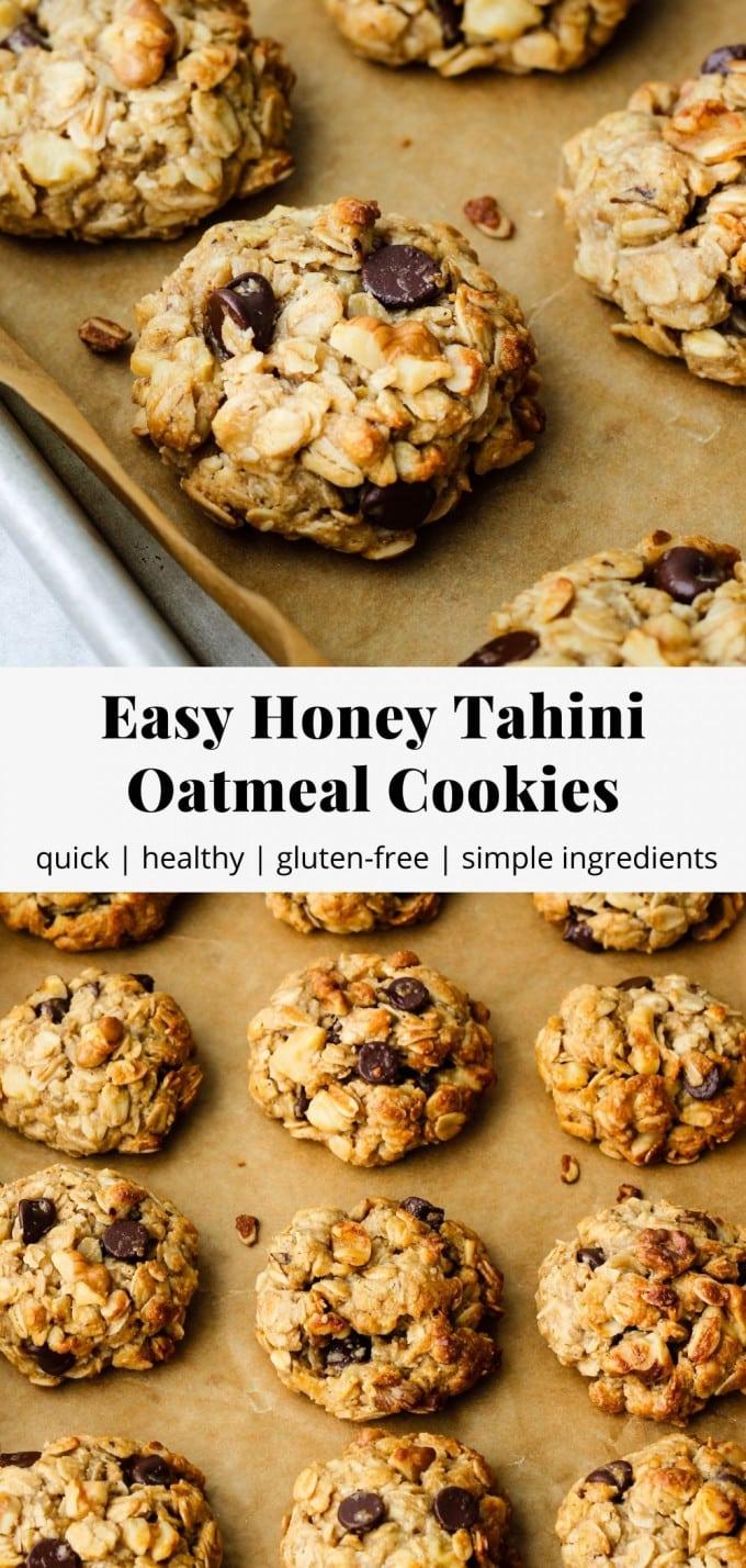 Pinterest graphic for honey tahini oatmeal cookies recipe.