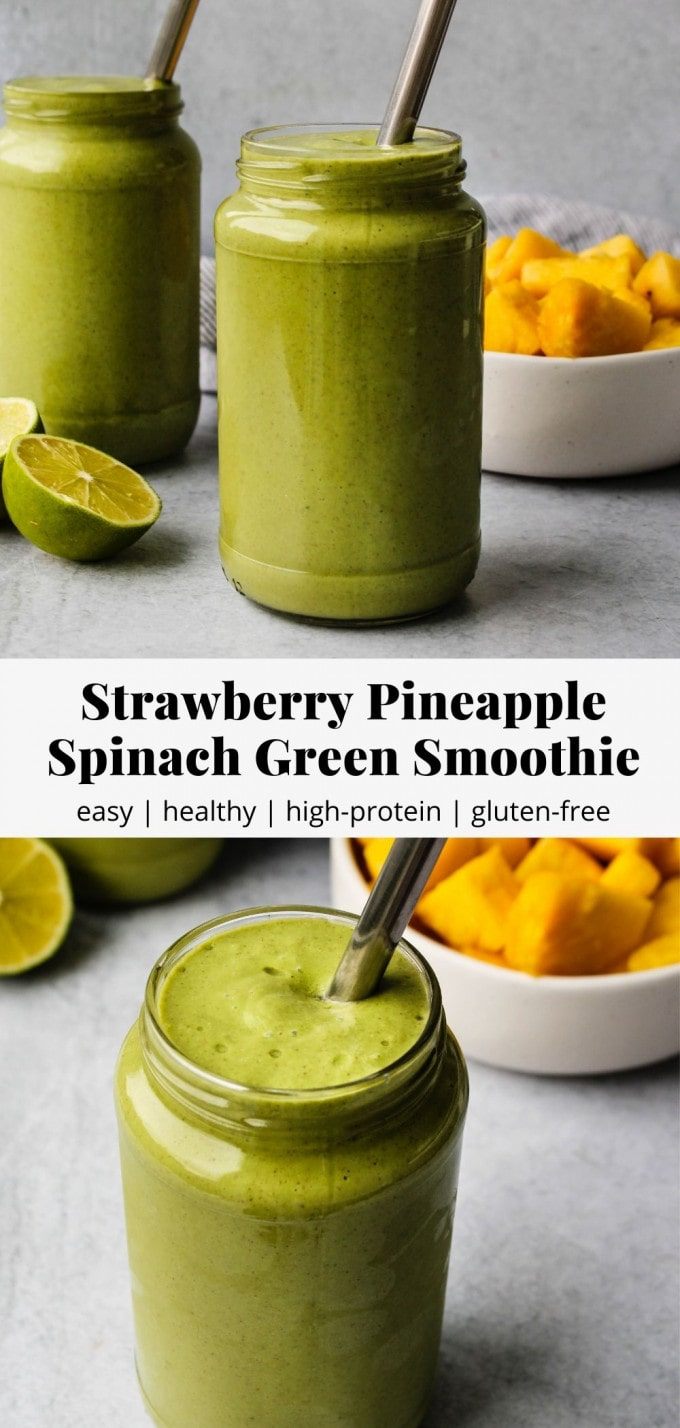 Pinterest graphic for strawberry pineapple spinach green smoothie recipe.