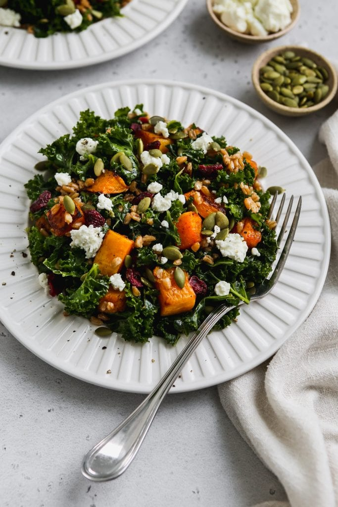 45 degree angle photo of kale butternut squash salad with farro and goat cheese on a white plate