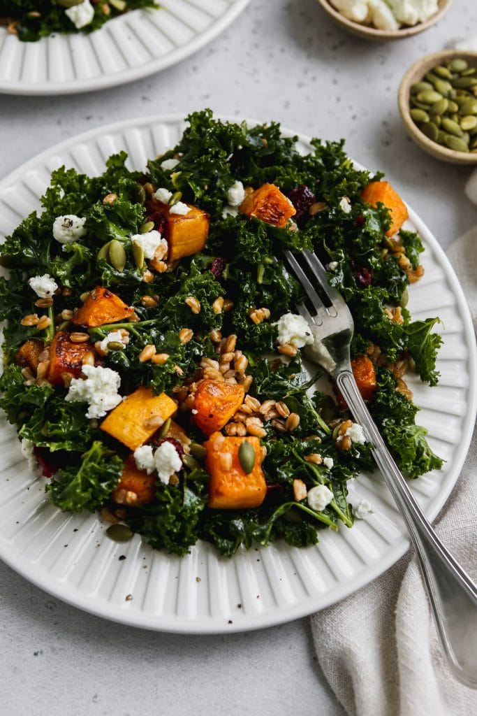45 degree angle photo of half-eaten kale butternut squash salad on a white plate