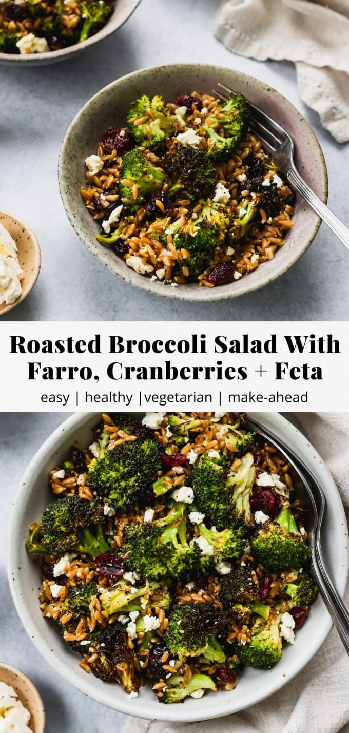 Pinterest graphic for roasted broccoli salad with farro, cranberries, and feta recipe.