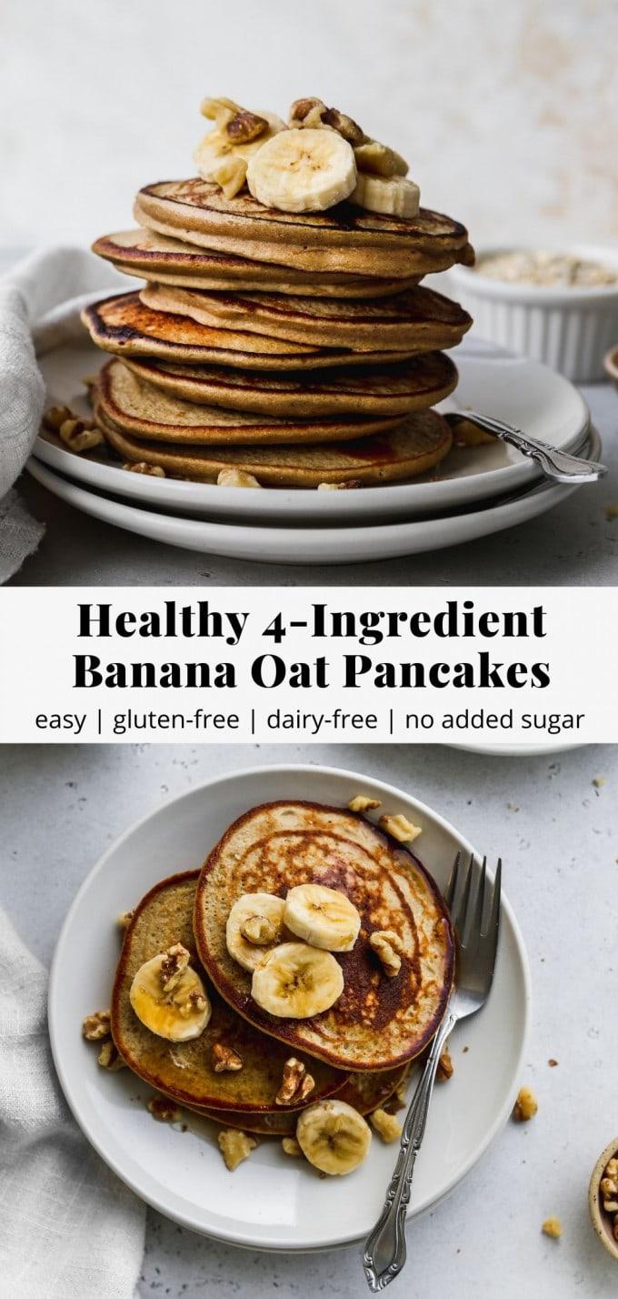 Pinterest graphic for 4-ingredient banana oat pancakes recipe.