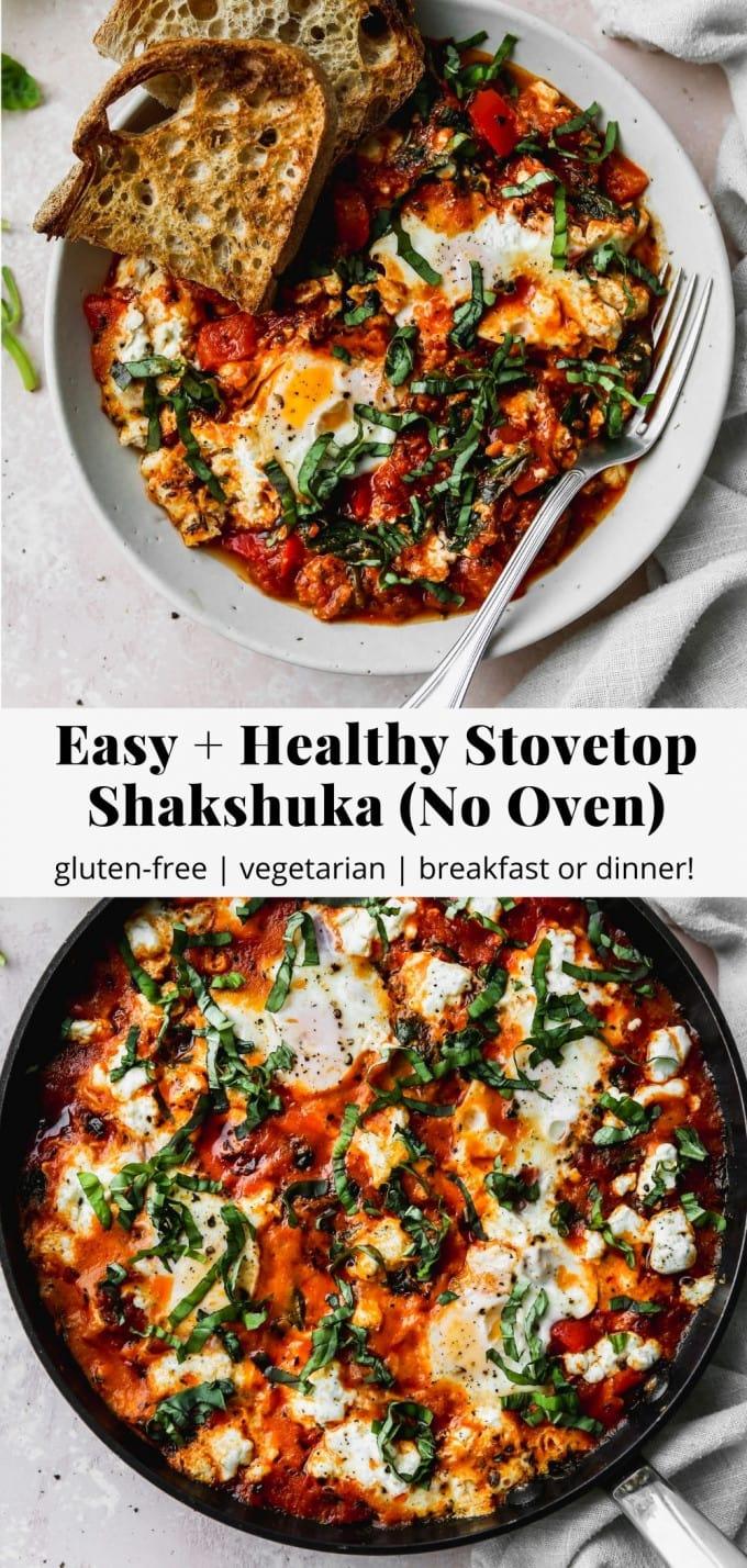 Pinterest graphic for easy, healthy stovetop shakshuka recipe.