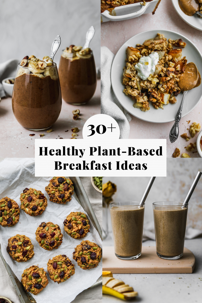 pinterest graphic for a roundup of healthy plant based breakfast ideas