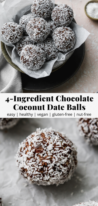 pinterest graphic for a 4-ingredient chocolate coconut date balls recipe
