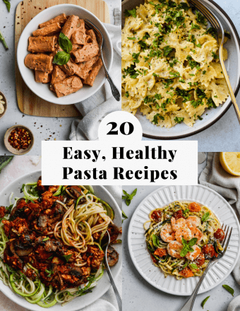 pinterest graphic for a roundup of 20 easy, healthy pasta recipes