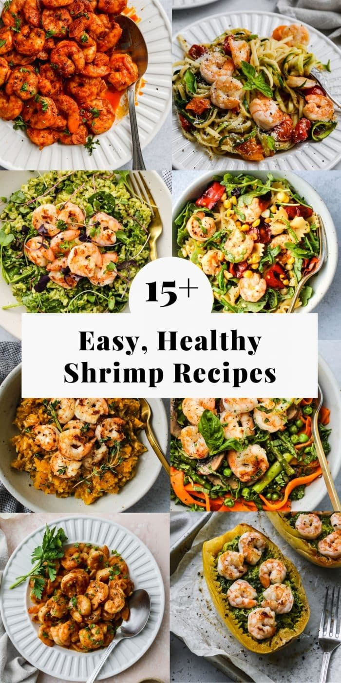 long pinterest graphic for a roundup of 15+ easy, healthy shrimp recipe ideas.