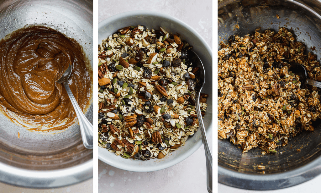 three side by side photos showing the process of making homemade granola bars - mixing ingredients in bowls